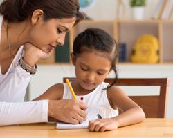 Teacher and preschooler