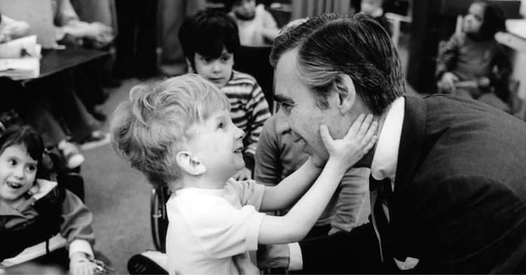 Mister Rogers and child. Photo credit Jim Judkis