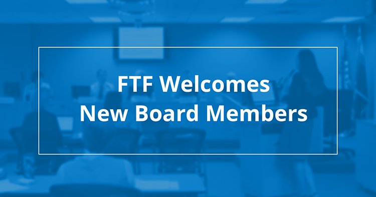 blue box that says FTF welcomes new board members
