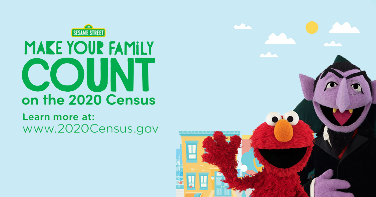 Sesame Street's the Count and Elmo for the US Census