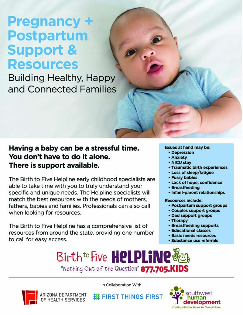 baby on flier with free parenting resources