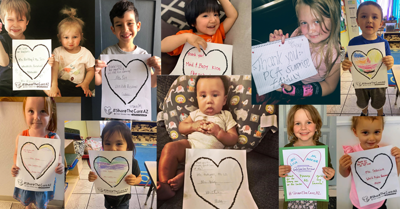 collage of kids holding signs for care givers