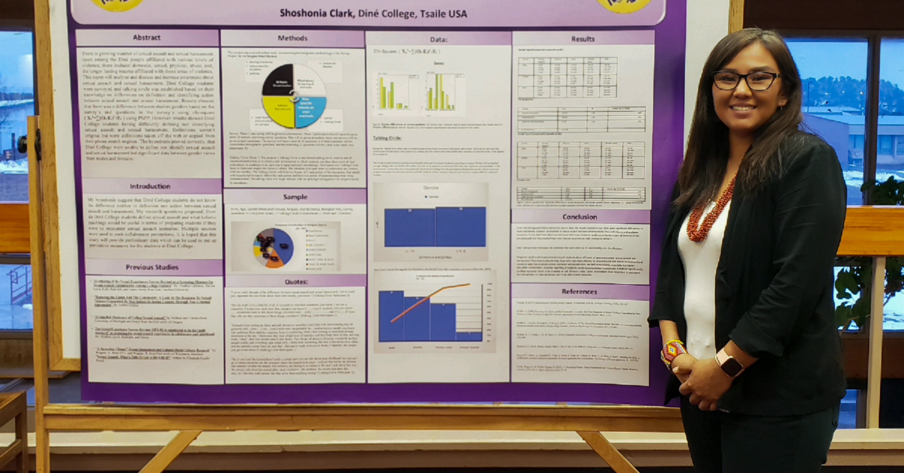 woman standing in front of a presentation board