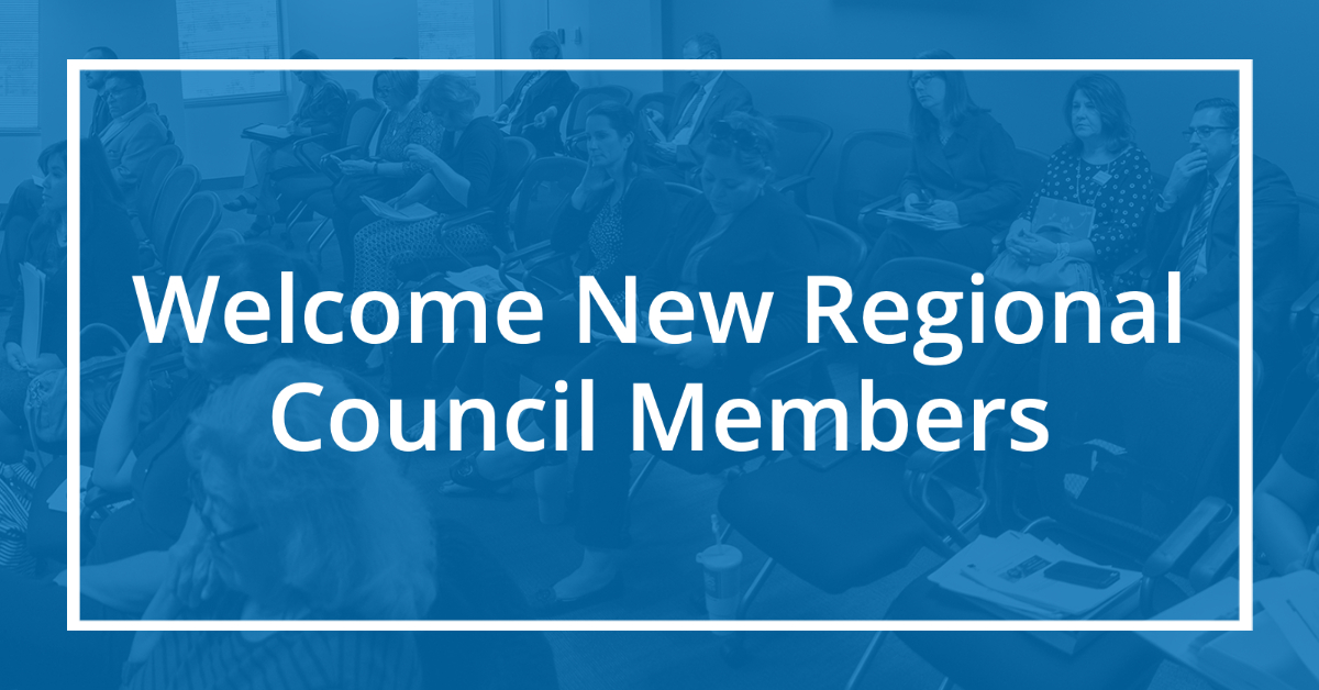 blue box that says welcome new regional council members