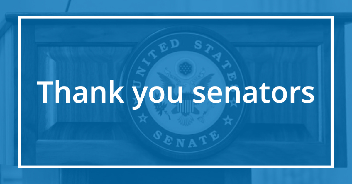 blue box with US Senate emblem and Thank you senators