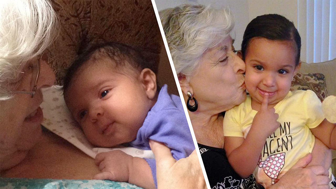 two photos of a baby with her grandmother holding her