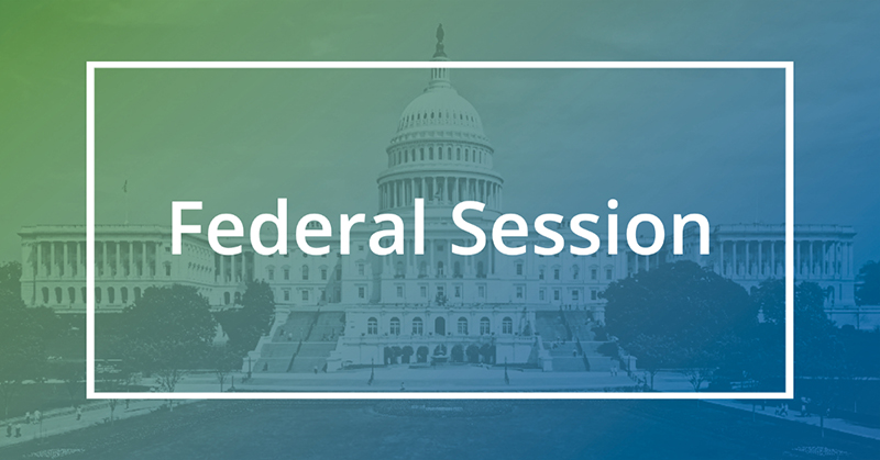blue green box with Federal Session text