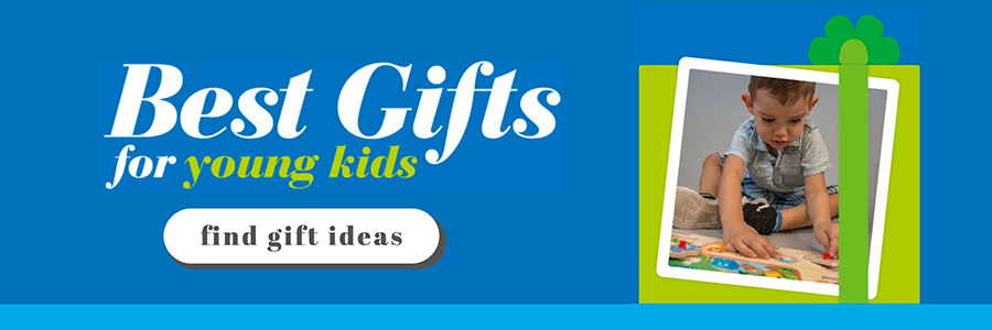 Ad to visit a guide for best gifts that shows a present and boy playing with a puzzle