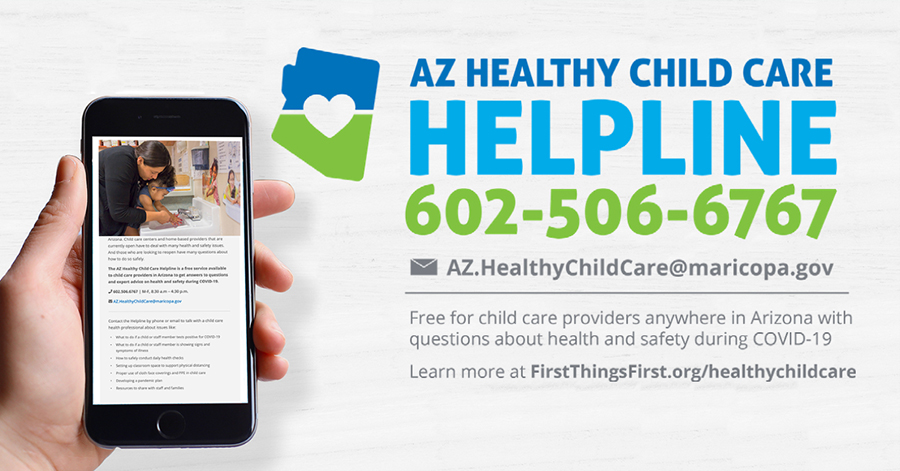 hand hold cellphone with AZ Healthy Child Care Helpline 602-506-6767