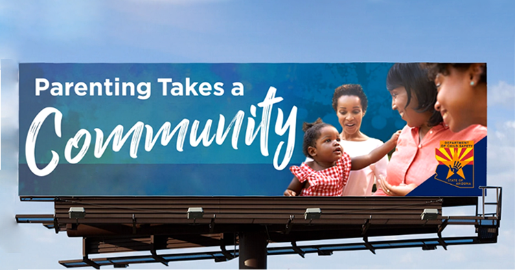 campaign billboard that reads Parenting Takes a Community