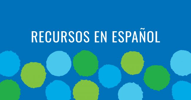 Resources in Spanish on blue background with green and blue polka dots